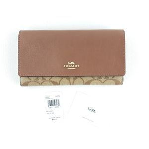🆕️ COACH Brown Trifold Wallet in Signature Canvas